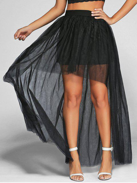 lady Voile High-Low Ball Gown Maxi Skirt - BLACK S Mobile