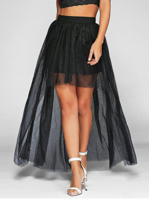 women Voile High-Low Ball Gown Maxi Skirt - BLACK XL Mobile