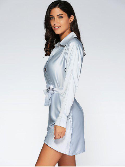 sale Crossover Wrap Shirt Dress - GRAY M Mobile
