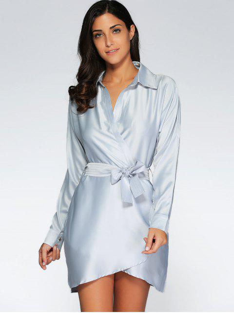 affordable Crossover Wrap Shirt Dress - GRAY S Mobile