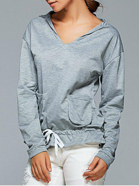 hot Active Long Sleeve Pockets Hoodie - GRAY L Mobile