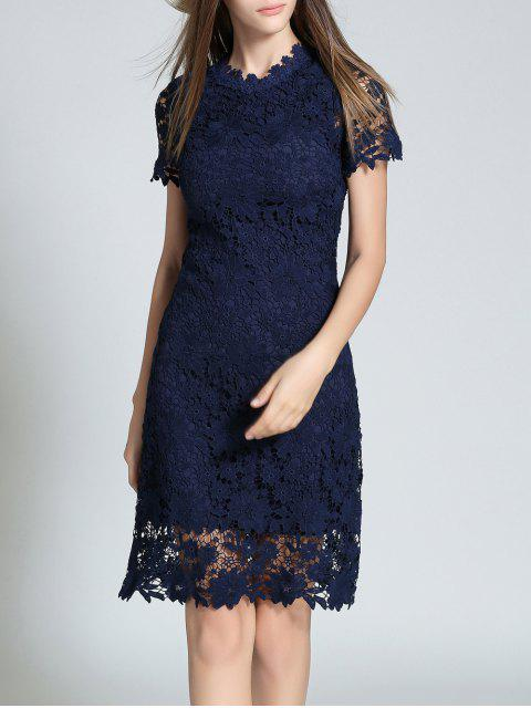 affordable Ruff Neck Sheath Lace Prom Cocktail Dress - PURPLISH BLUE S Mobile