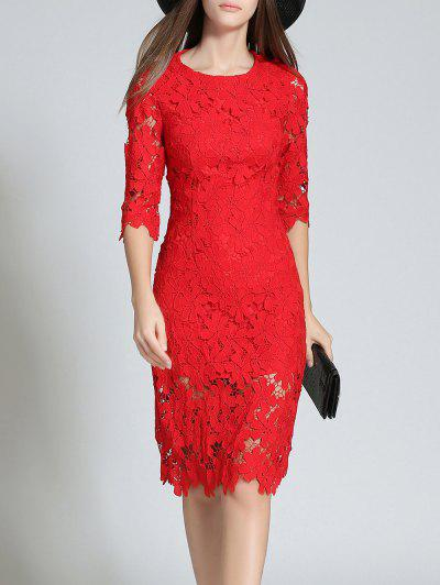 Round Neck 3/4 Sleeve Full Lace Bodycon Vestido De Noiva - Vermelho L