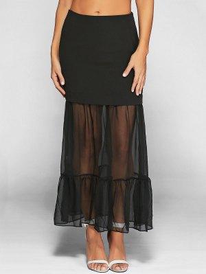 Ruffle See-Through Tulle Maxi Skirt - Black S