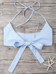 Buy Striped Halter Wraped Tank Top - LIGHT BLUE M
