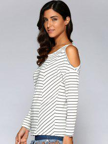 58cf9c28f741a6 61% OFF  2019 Striped Cold Shoulder Tee In WHITE AND BLACK