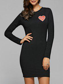 Cuello Redondo Impresión Del Corazón Vestido Ajustado - Negro S