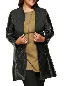 معطف من الجلد المزيف بأجزاء صوفية - أسود 2xl