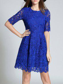 جولة الرقبة نصف كم فستان الدانتيل الكامل - أزرق M