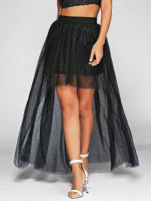 36 Off 2019 Voile High Low Ball Gown Maxi Skirt In Black 2xl Zaful
