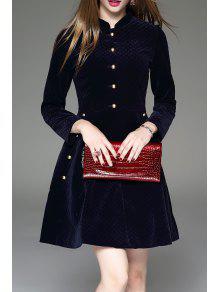 Manches Longues Boutonné Robe évasée - Bleu Violet S