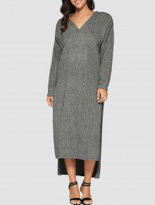 Maxi Slit Sweater Dress - Gray M