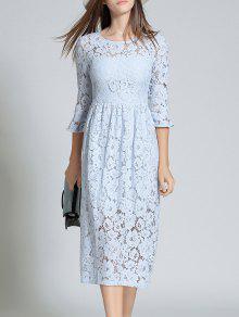 فستان المخرمات بكم البوق و الياقة المستديرة  - الضوء الأزرق S