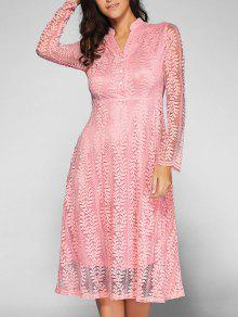 Leaf Pattern Lace Dress - Pink Xl