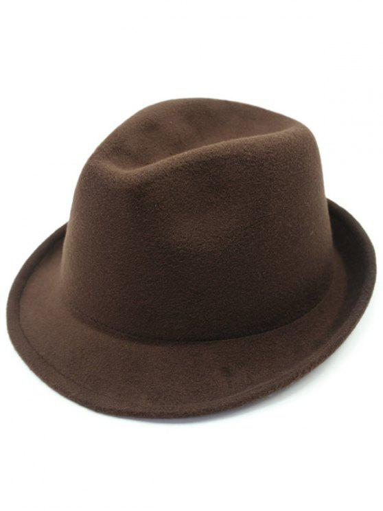 Pure Color adornadas Flanging Wool Hat Fedora - Café