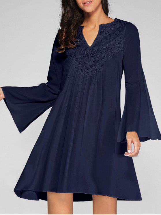 Robe trapèze à manches longues  à col V - Bleu Cadette S