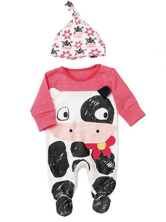 2f50408338b 2019 Zebra-Stripe Cartoon Jumpsuit + Cartoon Print Hat In ROSE RED ...