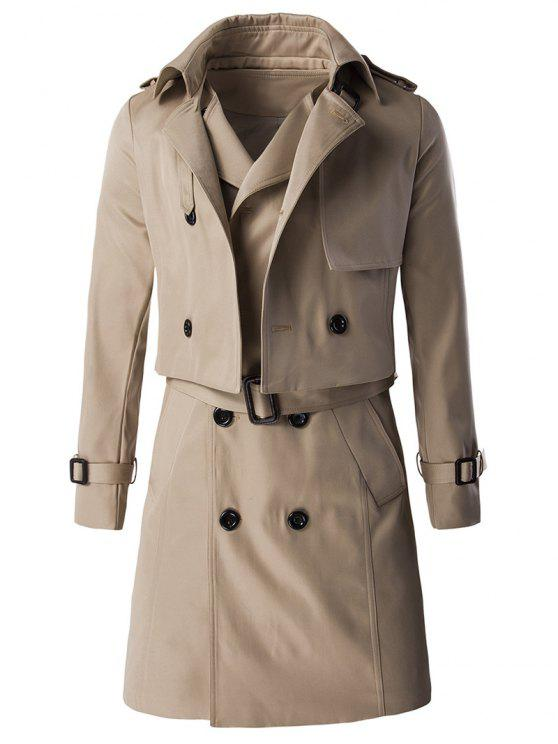 تصميم الكتفية مشبك كم معطف والخط الطويل مربوط صدرية توينسيت - كاكي M