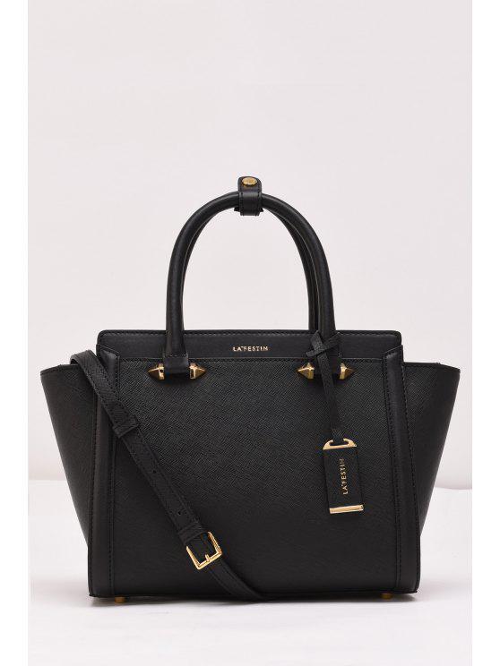 حقيبة توتي جلدية بتفاصيل معدنية - أسود