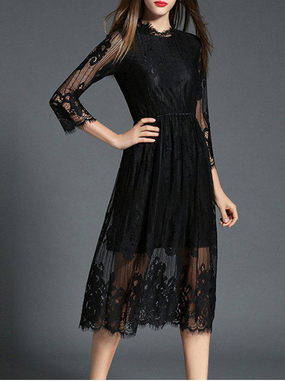 ladies See-Through Ruff Collar Long Sleeve Lace Dress - BLACK L