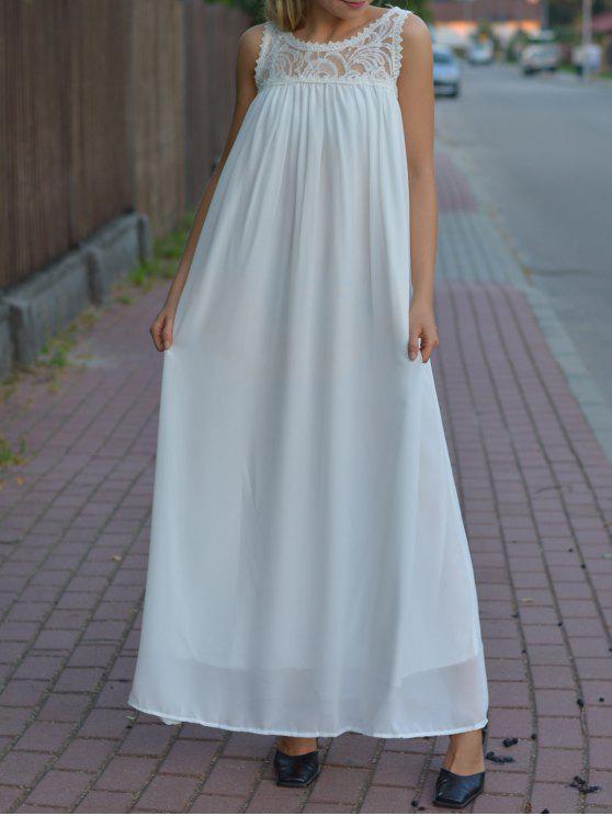 lady Floral Pattern Lace Splicing Sleeveless Maxi Dress - WHITE XL
