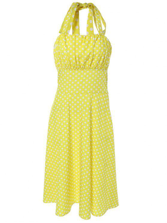 ladies Vintage Halter Polka Dot Empire Waist Dress - YELLOW XL