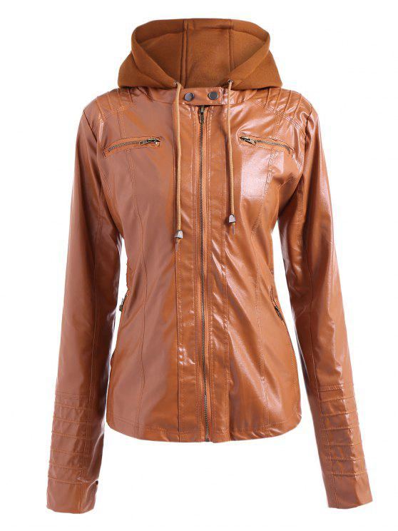 547be1b53 Convertible Collar PU Leather Bomber Jacket