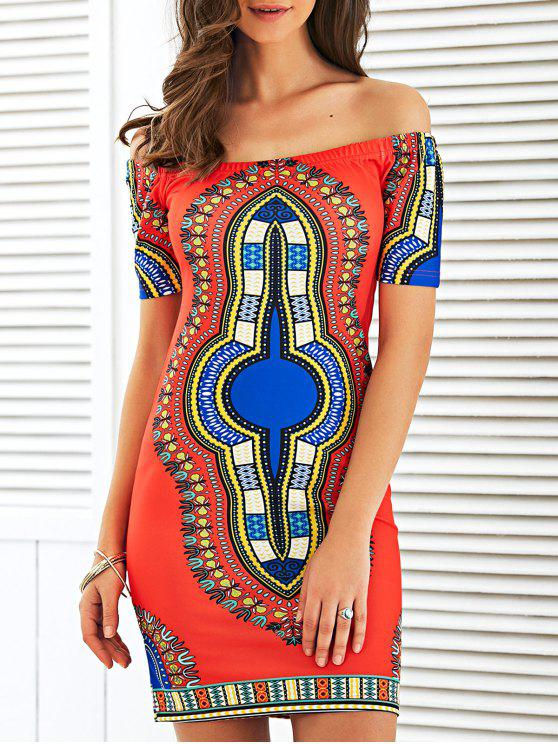 latest Off The Shoulder Totem Print Bodycon Dress - RED M