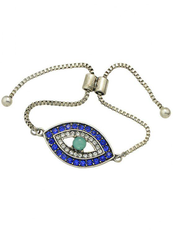 Forma Rhinestone Alloy Eye Bracelet Bead - Prata