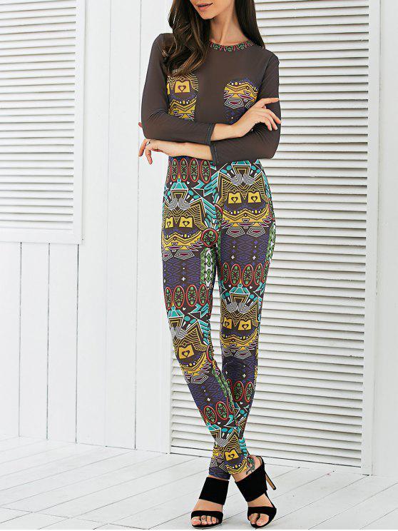 See-Through Mesh Spliced Imprimé Jumpsuit - Multicolore S