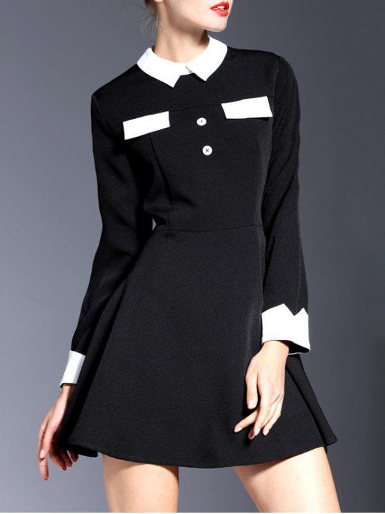 hot Contrasting Collar Long Sleeve Mini Dress - BLACK S