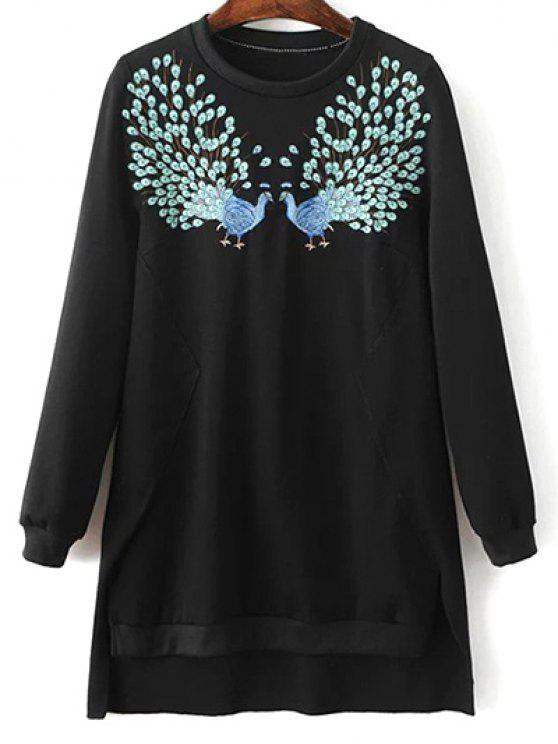 outfits High Low Embroidered Sweatshirt - BLACK M