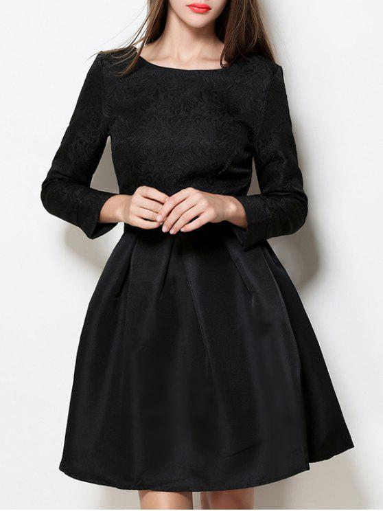 Un vestido de cuello del barco de la línea Jacquard - Negro L