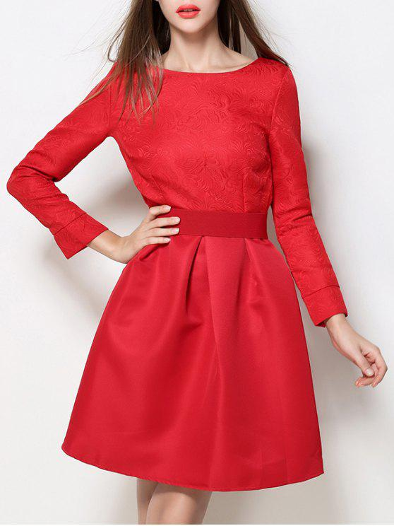 chic Boat Neck A Line Jacquard Dress - RED S