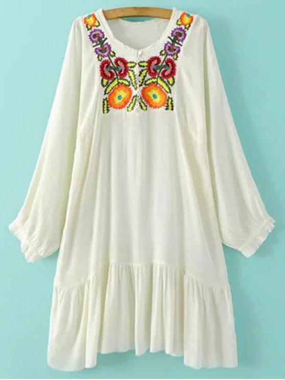 Bordado del vestido largo de la manga de volantes - Blanco M