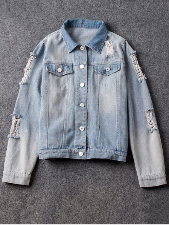 womens Point Collar Ripped Denim Jacket - LIGHT BLUE M