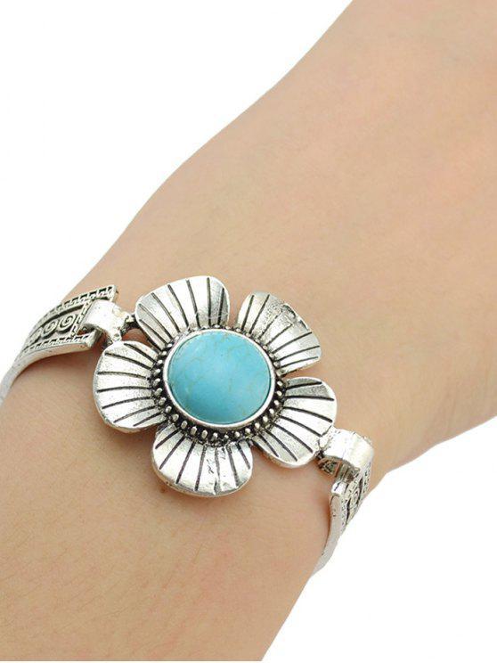Faux Bracelet Floral Turquoise - Argent