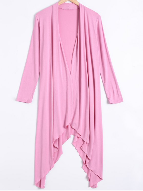 chic Long Sleeve Irregular Hem Long Cardigan - PINK XL