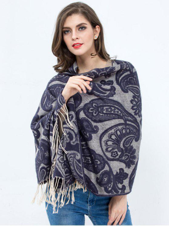 Estampado de flores de invierno Impreso de la borla mantón del abrigo de Pashmina - Violeta Azulada