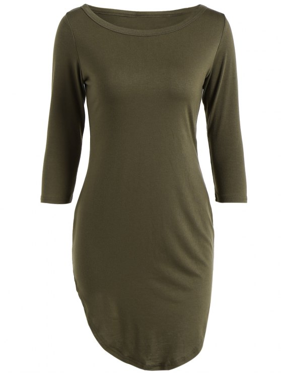 affordable Casual Round Neck 3/4 Sleeve Side Slit T-Shirt Dress - ARMY GREEN S