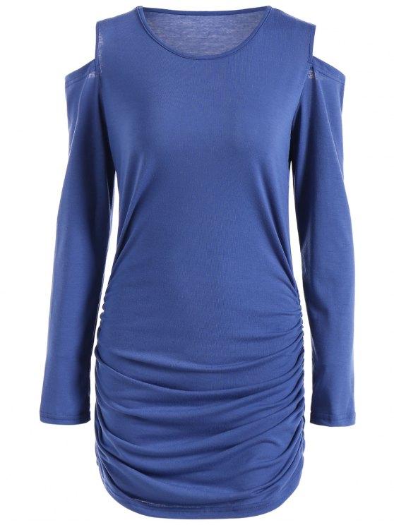 buy Round Neck Cold Shoulder Ruched T-Shirt Dress - BLUE L