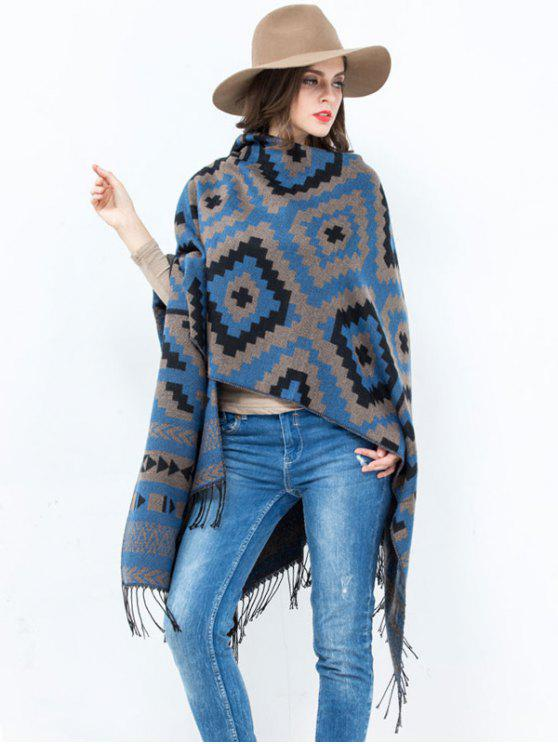 unique Open Front Plaid Wave Design Tassel Pashmina - BLUE