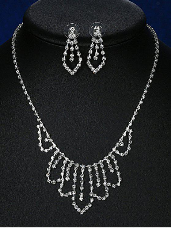 new Geometric Adorn Rhinestoned Bridal Jewelry Set - SILVER