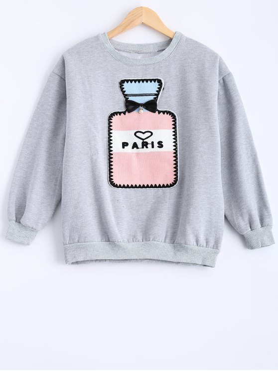 trendy Round Neck Patch Design Sweatshirt - GRAY S