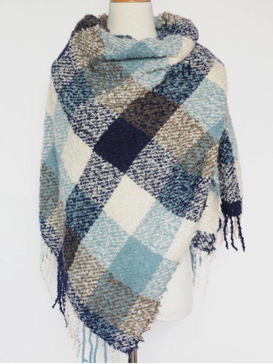 Casual Color Block manta Tassel Xaile de Pashmina - Azul