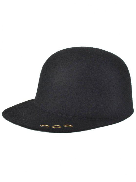 outfit Hollow Metal Ring Wool Fodora Hat - BLACK