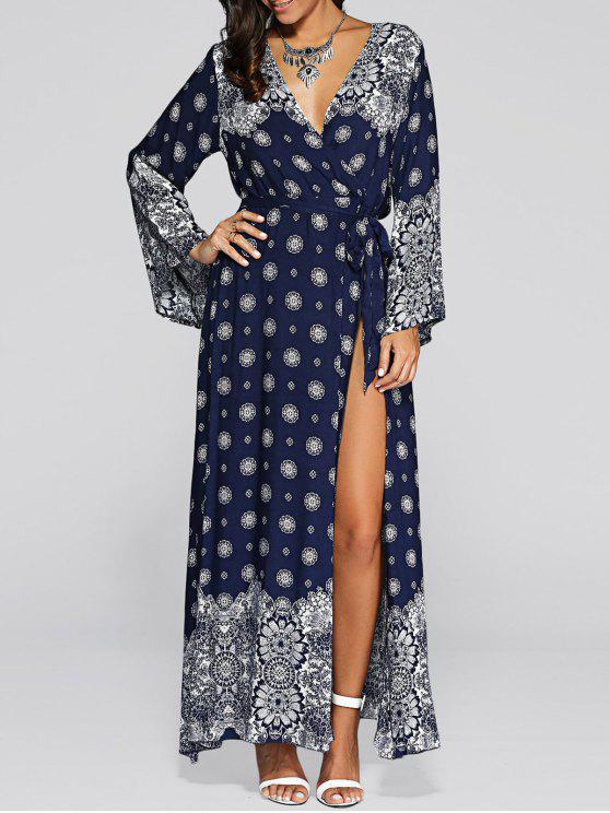 shop Bell Sleeve High Slit Maxi Boho Wrap Dress - BLUE ONE SIZE