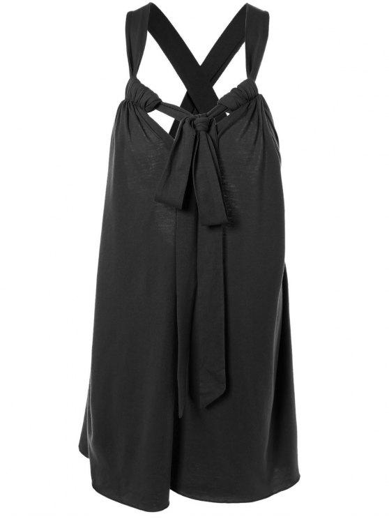 shop Halter Cross Back Cami Shift Dress - BLACK 2XL