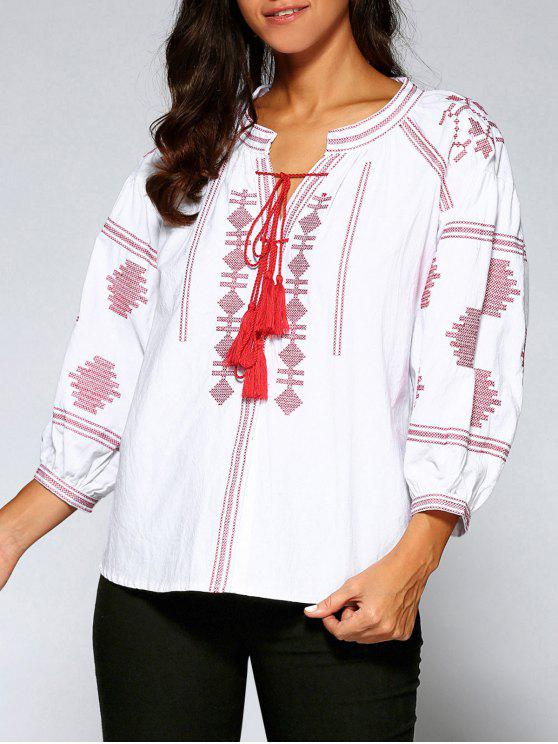 5a5d81558 23% OFF  2019 Embroidered Puff Sleeve Tassels Blouse In WHITE