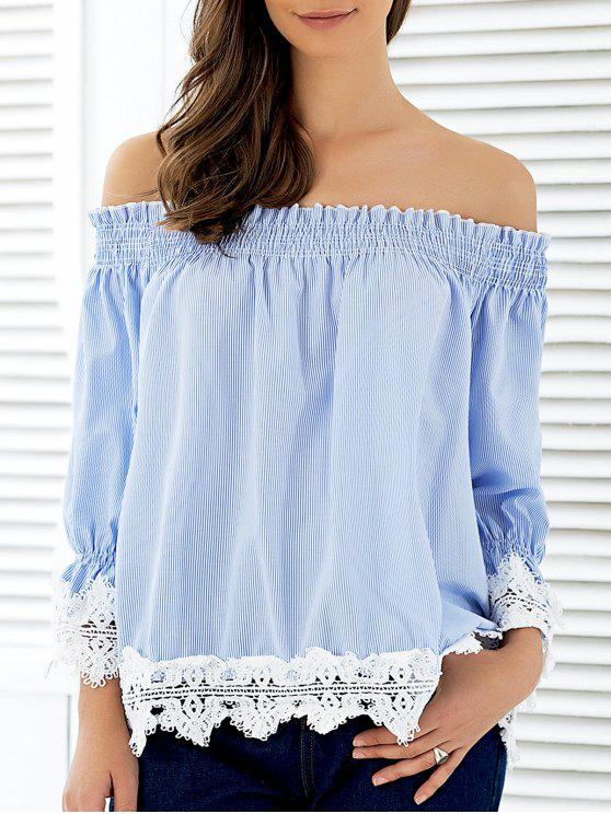 9c155b8e3f7fd6 28% OFF  2019 Off The Shoulder Striped Lace Panel Blouse In STRIPE ...